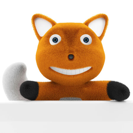 plushy: Little Cartoon Fox with Blank Board isolated on white background