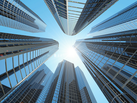 corporate buildings: Modern Corporate Buildings in City Downtown District with Sun Light Stock Photo