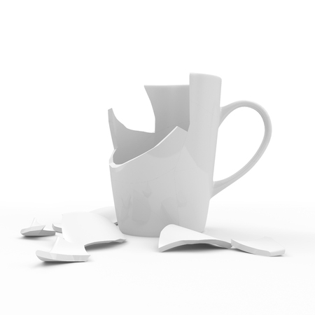 Broken White Cup isolated on white background photo