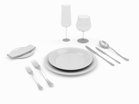 silver ware: Table setting isolated on white background