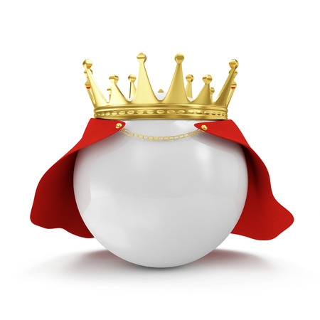 White Ball with Golden Crown and Raincoat isolated on white background photo
