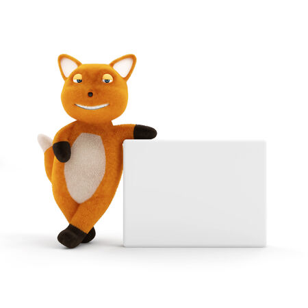 plushy: Funny Little Fox with Blank Board isolated on white background Stock Photo
