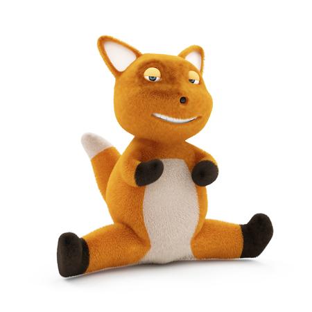 plushy: Funny Little Fox on the splits over white background Stock Photo