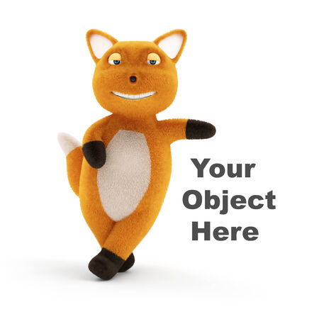 downy: Funny Little Fox Presenting Your Object isolated on white background Stock Photo