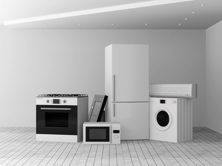 steam cooker: Interior with group of home appliances  Refrigerator, Gas cooker, Microwave, Cooker hood, Air conditioner and Washing machine  Stock Photo