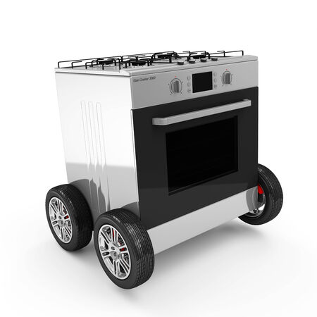 Gas Cooker on Wheels isolated on white background Stock Photo