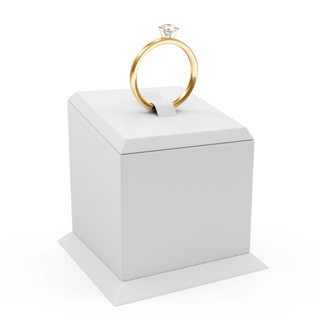 karat: Golden Wedding Ring with Diamonds on Presentation Stand isolated on white background