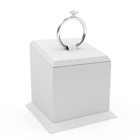 ring stand: Platinum Wedding Ring with Diamonds on Presentation Stand isolated on white background Stock Photo