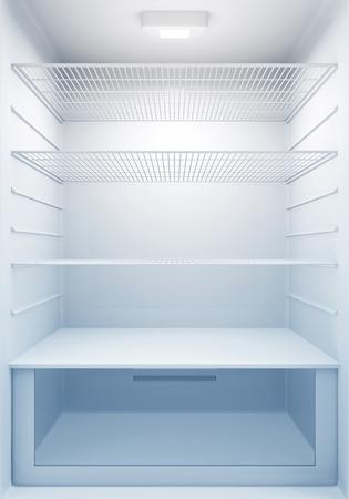 파란 빛을 가진 빈 현대 냉장고의 내부보기