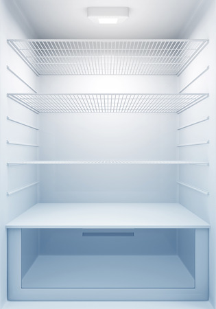 empty house: Inside view of an empty Modern Fridge with Blue Light