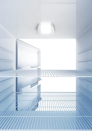 Binnen mening van een lege Moderne Koelkast met blauw licht