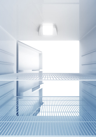 Inside view of an empty Modern Fridge with Blue Light photo