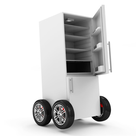 open car door: Open Refrigerator on Wheels isolated on white background
