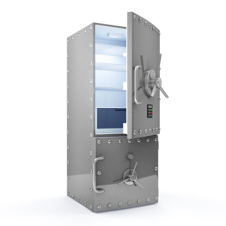 passcode: Modern Refrigerator with Opened Safe Door isolated on white background  Dieting concept