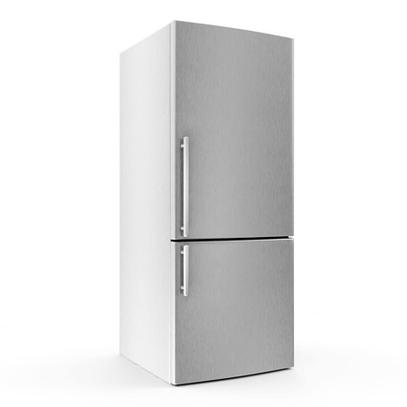 Modern metallic refrigerator isolated on white background photo