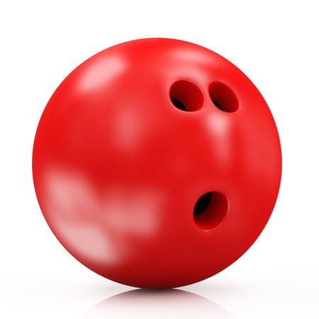 白い背景で隔離の赤ボウリングのボール