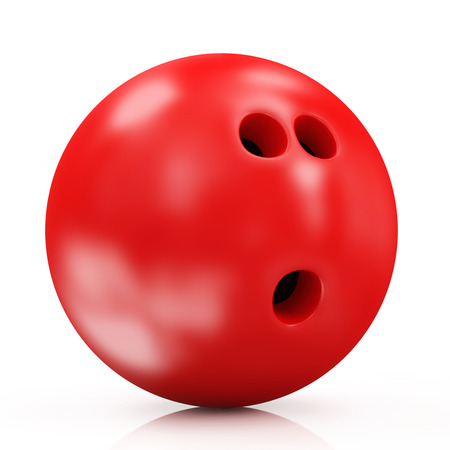 Red Bowling Ball isolated on white background photo