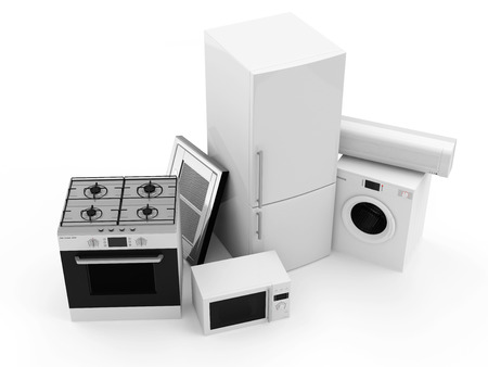 Group of home appliances  Refrigerator, Gas cooker, Microwave, Cooker hood, Air conditioner and Washing machine  photo