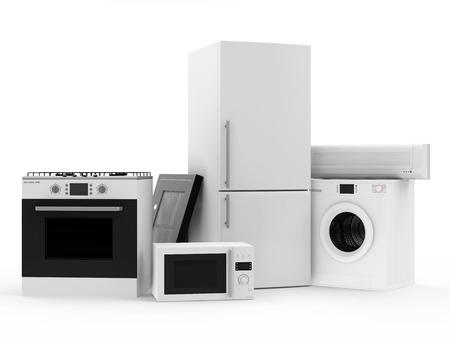 Groep van huishoudelijke apparaten koelkast, gasstel, magnetron, Afzuigkap, Airconditioning en Wasmachine Stockfoto