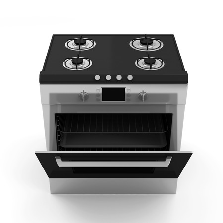 cooktop: Gas cooker isolated on white background Stock Photo
