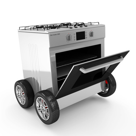 Open Gas Cooker on Wheels isolated on white background Stock Photo