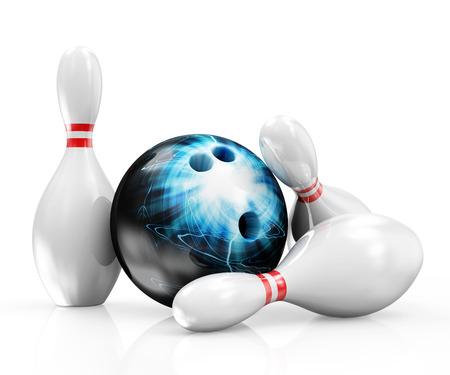 Bowlingbal met Skittles op een witte achtergrond
