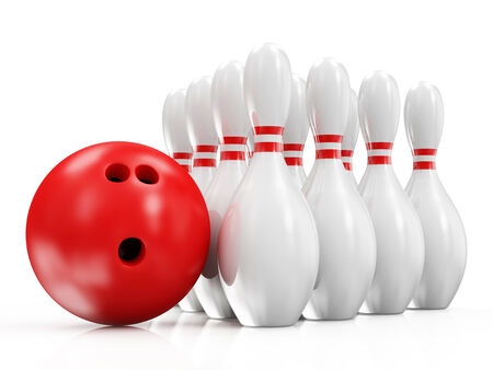 Bowling Ball and Skittles isolated on white background photo