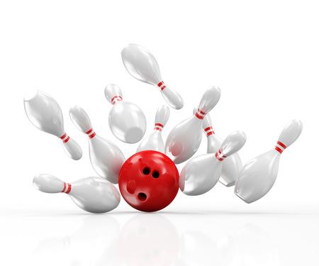 Rood Bowling bal crashen in de pinnen op een witte achtergrond Stockfoto