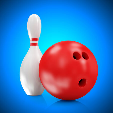 Bowling Ball and Skittles on blue gradient background photo