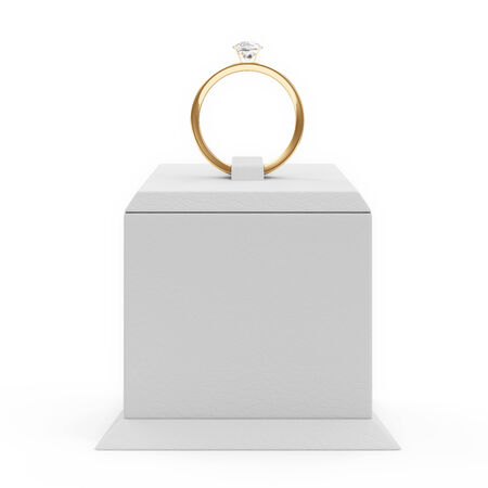 ring stand: Golden Wedding Ring with Diamonds on Presentation Stand isolated on white background