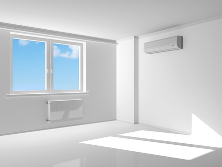room air: Empty Room Interior with air conditioner on the wall