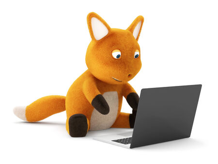 plushy: Funny Little Fox with Laptop on white background