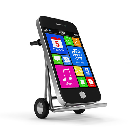 Metal Hand Truck with Touchscreen Smartphone isolated on white background