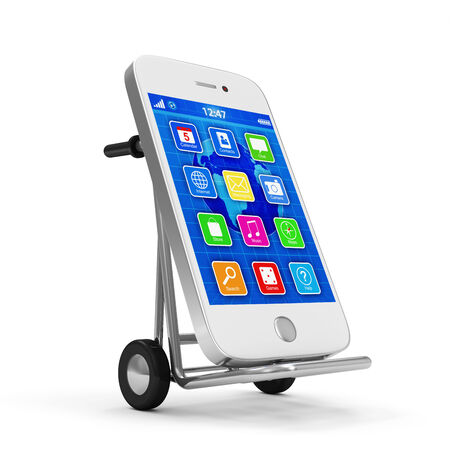 hand truck: Metal Hand Truck with Touchscreen Smartphone isolated on white background