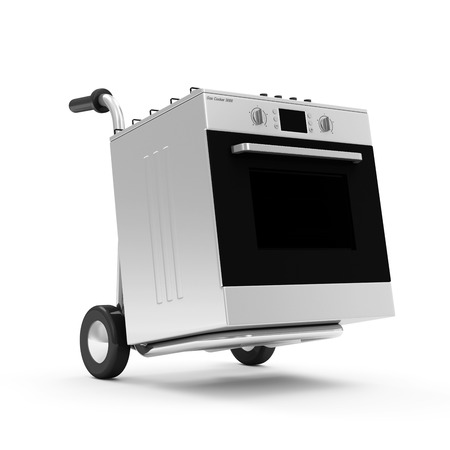 bakeoven: Metal Hand Truck with Gas cooker isolated on white background