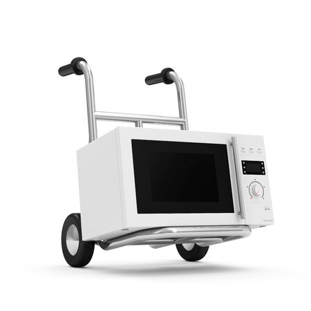 defrost: Metal Hand Truck with Microwave oven isolated on white background Stock Photo