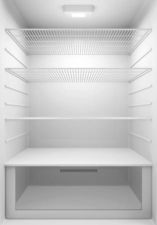 空の近代的な冷蔵庫の内部ビュー