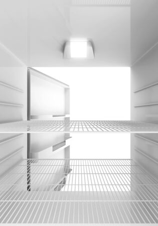 Inside view of an empty Modern Fridge photo