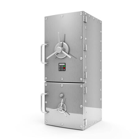 dieting: Modern Refrigerator with Safe Door isolated on white background  Dieting concept