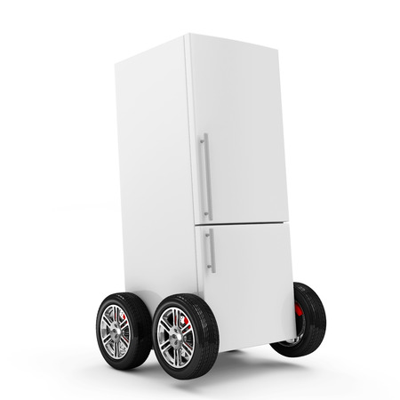 Refrigerator on Wheels isolated on white background photo