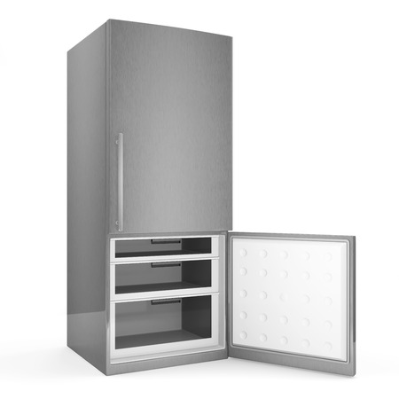 Modern metallic refrigerator with opened door isolated on white background photo