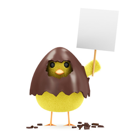 Little Chicken with Blank Board in Broken Chocolate Easter Egg isolated on white background photo