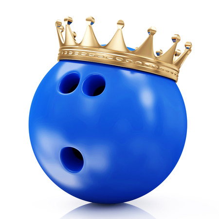Golden Crown on Bowling Ball isolated on white background  Bowling King Champion Concept photo
