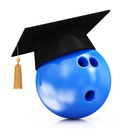 alumnus: Bowling Ball with Graduation Cap isolated on white background Stock Photo