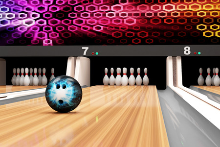 Bowling Ball is Rolling on Wooden Lane Imagens