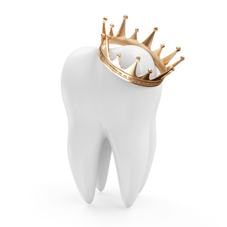 Tooth with Golden Crown isolated on white background