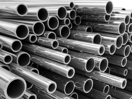 Stack of Steel Metal Tubes photo