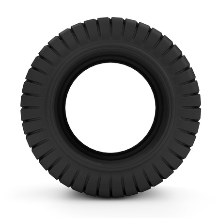 retreading: Big Heavy Tire isolated on white background