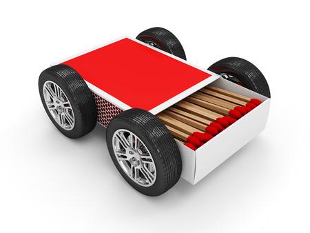 firebug: Red Matchbox on Wheels isolated on white background