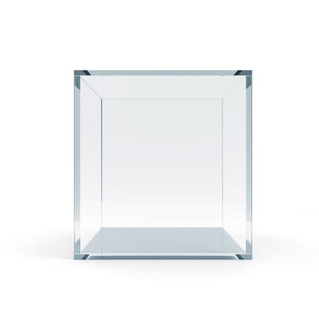 白い背景で隔離された空のガラス キューブ